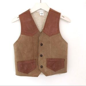 Western Leather Faux Shearling Lined Vest Size 8